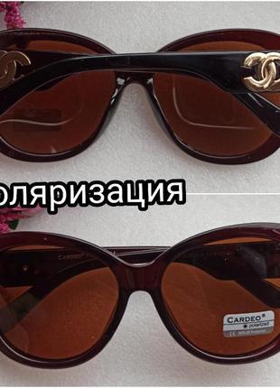 Новые солнцезащитные очки с поляризацией, с блеском на дужках, коричневые