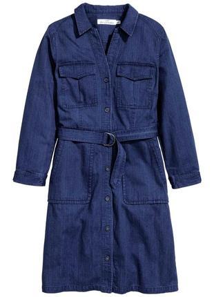 Джинсовое платье рубашка с карманами и длинным рукавом
