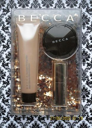 Набор becca : праймер backlight priming filter хайлайтер champagne pop помада orchid
