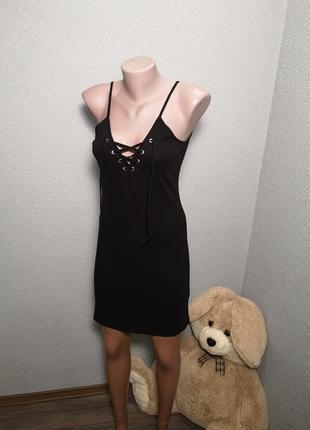 Классное платье в рубчик с завязками