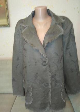 Легкий  пиджак с вышивкой 100% лен1 фото