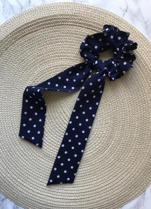 Синяя резинка для волос в горошек/скранчи/твилли