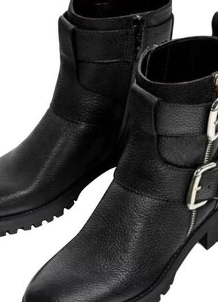 Zara basic morocco новые 100 % кожаные крутые байкерские сапоги ботинки с пряжками