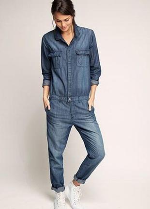 Синий брючный джинсовый комбинезон
