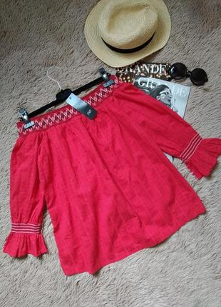 Шикарная хлопковая блуза в этно стиле/блузка с вышивкой/кофточка/топ