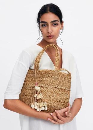 Натуральная джутовая сумка - корзина zara