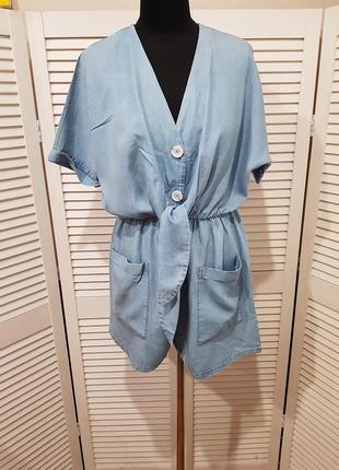 Голубой джинсовый комбинезон шорты zara