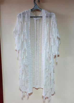 Накидка белая ажурная (большой размер)