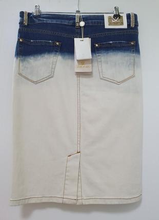 Брендовая джинсовая юбка с камешками swarovski