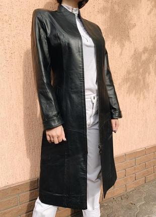 Куртка кожаная пальто  (тренч плащ ) длинное