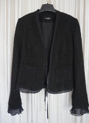Черный твидовый жакет пиджак ,chanel стиль escada