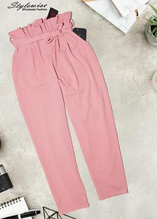 Новые розовый кюлоты с воланами на талии styiwise4 фото
