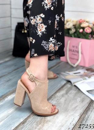 Босоножки закрытые спереди, на толстом каблуке с лазерным напылением , туфли, босоножки