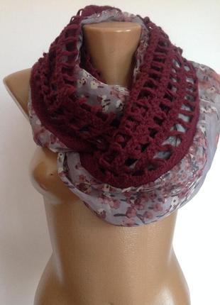 Оригинальный бутиковый шарф- снуд . италия