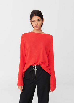 🌿объёмный свитер оверсайз mango широкая кофта с разрезом на спине