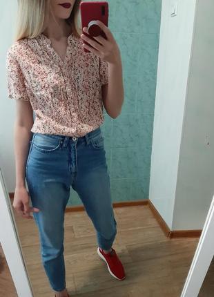 Легенькая хлопковая блуза, рубашка в цветочный принт