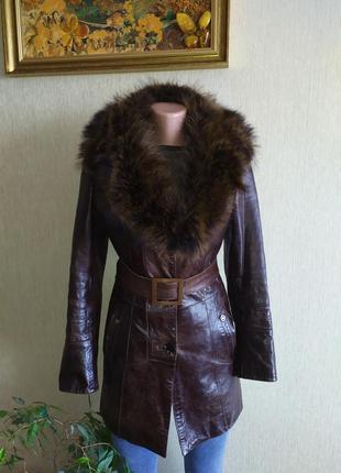 Кожаное пальто, тренч, куртка, мех, натуральная кожа,р.34-36