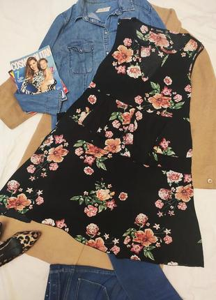 Boohoo платье большое батал чёрное цветочное трапеция шифоновое