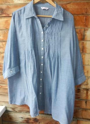 Натуральная рубашка блуза легкая большой размер
