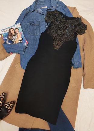 Emerald undae платье чёрное бандажное золотое с открытой спиной шикарное вечернее