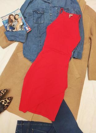 Asos платье красное алое трикотажное по фигуре