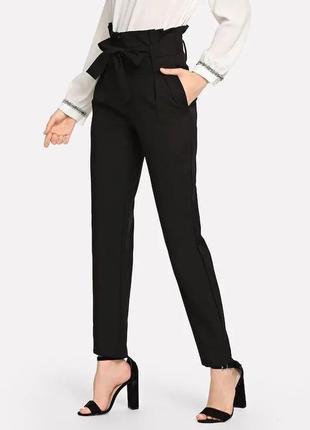 Черные новые брюки джоггеры primark с высокой посадкой и защипами