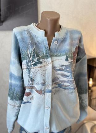 Крутая стильная кофта ручной роботы зима толстовка пуловер худам утеплённое на флисе