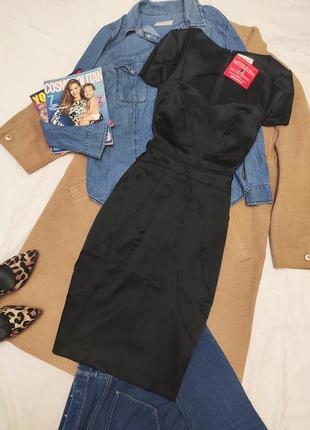 Today's woman новое чёрное платье футляр карандаш атласное миди