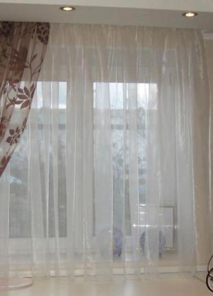 Тюль сіточка ,біла на кухню 4м висота 2 м
