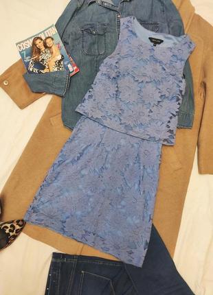 New look платье кружевное синее голубое на подкладке