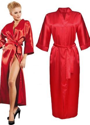 130 dkaren атласный женский длинный халат на поясе в красивой упаковке красного цвета