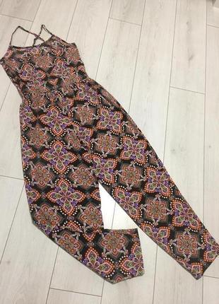 Летний комбинезон женский c широкими штанами легкий воздушный не жаркий