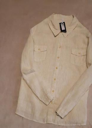 Новая льняная рубашка в полоску большого размера 22-24 marks & spencer