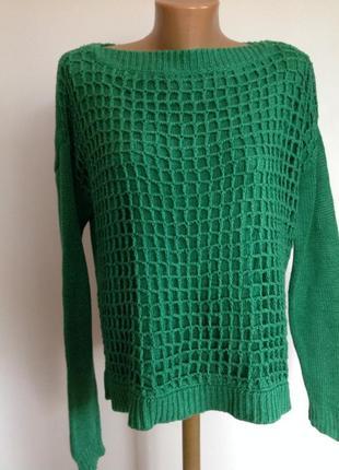 Зелёный свитер /44/brend passport. котон лен
