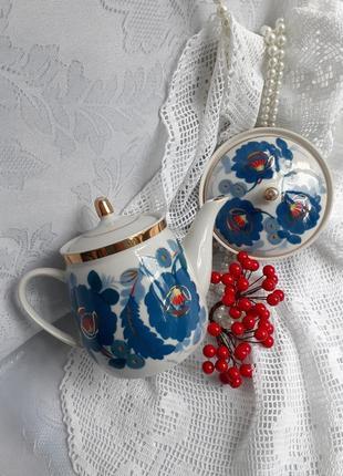 Чайный сервиз ссср полонное чайник и масленка фарфор ручная роспись винтаж