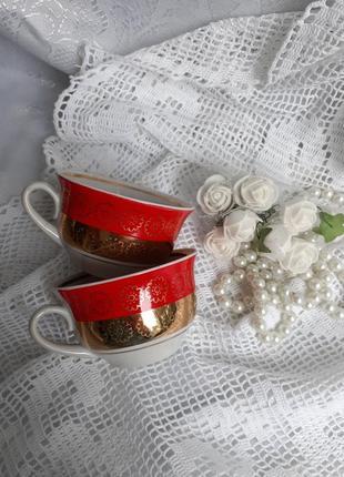 Чашки кофейные ссср бориславский фарфор позолота винтаж