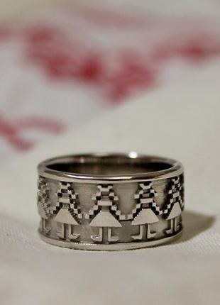 """Оригинальное серебряное кольцо """"вышиванка-девчата""""  авторская работа"""