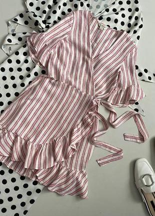 Красивейшее льняное платье халат на запах в полоску  miss selfridge