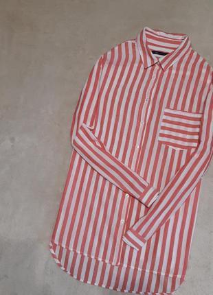 Рубашка мягкая хлопок в полоску размер 16 marks & spencer