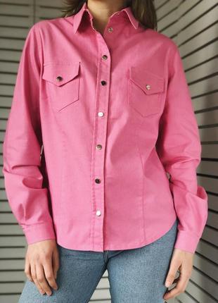 Красивенная розовая рубашка на кнопках