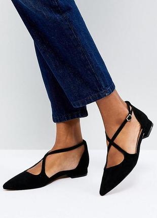 Лаковые туфли балетки с острым носком асос asos