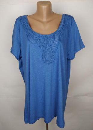 Блуза голубая трикотажная шикарная сеточка вышивка tu uk 20/48/3xl