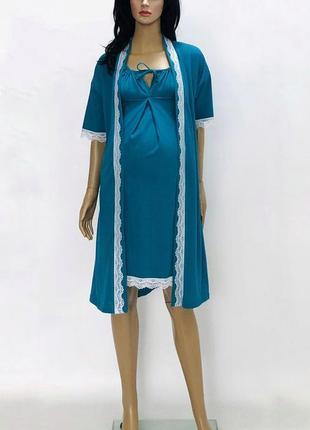Халат и ночная рубашка сорочка ночнушка для беременных и кормящих