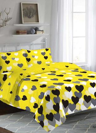 Комплект постельного белья в жолтом и сером светах