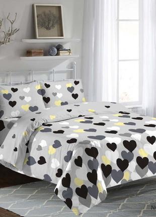 Комплект постельного белья, серый, жолтый