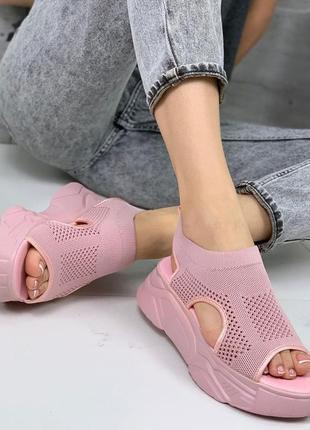 Босоножки 🌿  текстиль стрейч платформа  танкетка сандали босоніжки