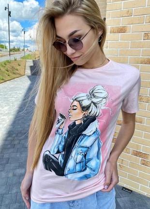 Длинная футболка женская с модным принтом
