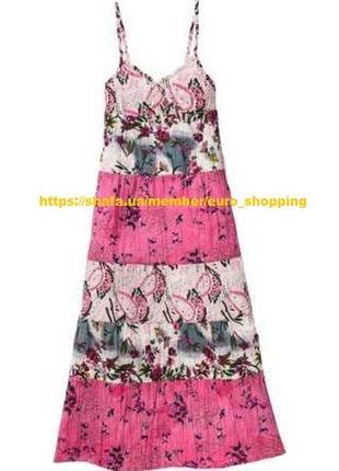 Платье сарафан макси в пол с цветочным принтом натуральное хлопковое длинное плаття довге