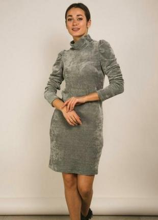 Плюшевое платье рукава фонарики