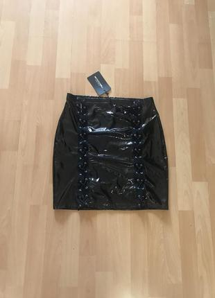 Виниловая юбка, юбка лак, лаковая юбка